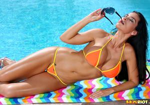 Laura Lee - Sizzling Orange Thong Bikini & Toy
