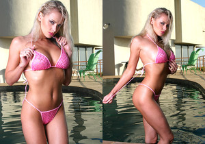 Zdenka Podkapova - Hot Pink Crochet Bikini in Pool
