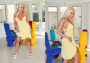 Gina Lynn Poses In Her Yellow Dress & Fucks
