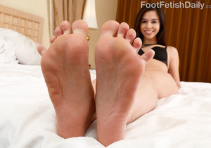Small Breasted Brunette Teases With Her Feet and Gets Fucked