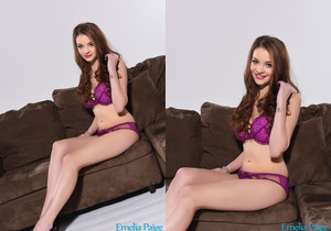 Emelia Paige teasing on the sofa in purple lingerie showing