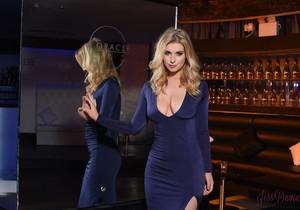 Jess Davies teasing in her blue slit dress and panties
