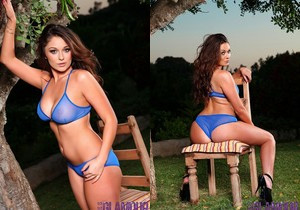 Caitlin Wynters strips nude from her blue lingerie