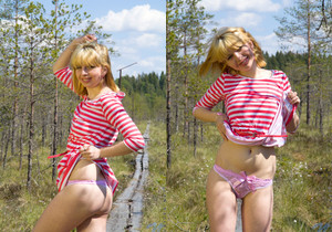 Sofia H dildoing out in the forest