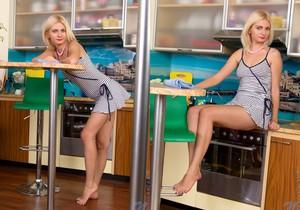 Milana Little kitchen vibrator play