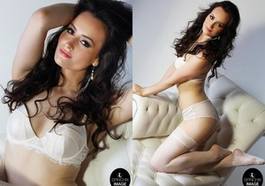 Brook A looks sensual on her White chaise - Spinchix