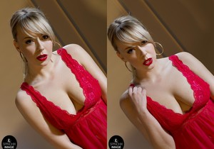 Millie's soft Red lips and Red nightie - Spinchix