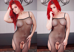 Harley poses and strips out of her body stocking