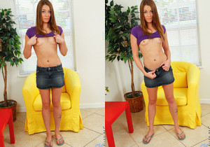 Shy teen Kirsten Lee gets undressed