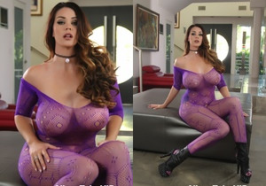 Alison Tyler in her purple fishnets