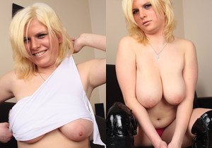 Kasia Nova hot blonde on sofa - My Boobs