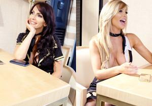 Catalina & Tasha Reign naughty flight attendant lesbains