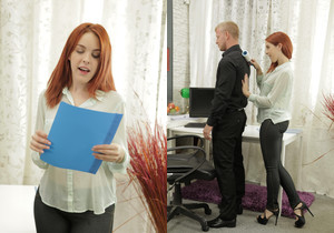 Gorgeous redhead secretary sucks the bosses cock