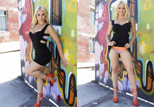 Sarah Vandella shows off her hot body outdoors
