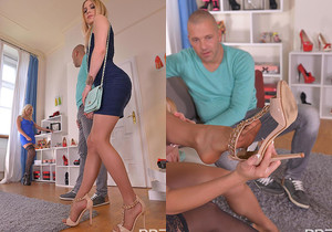 Shopping or Fucking: Two Blondes Provide Awesome Footjobs