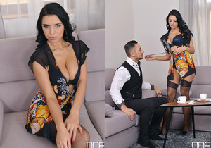 Such A Bombshell - Her Irresistible Cleavage Makes Him Drool