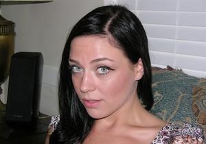 Blue Eyed Brunette Babe Models Nude