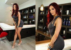 Beautiful redhead Jayden poses on the bar - Jayden Cole