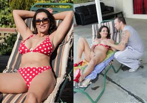 Pretty brunette MILF gets a poolside fuck - Hot 4 MILF