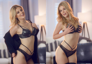 Charlotte Stokely Seduces In Black Lingerie - Cherry Pimps