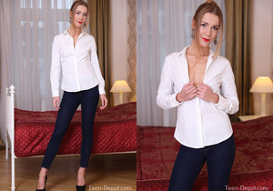 Alexis Crystal in a white blouse and tight jeans
