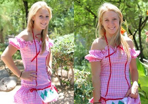 Alanna - blonde schoolgirl outdoors naked