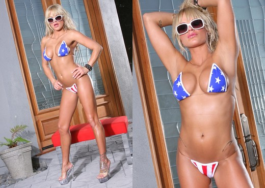 Brooke Belle - Red White & Blue Thong - Solo HD Gallery