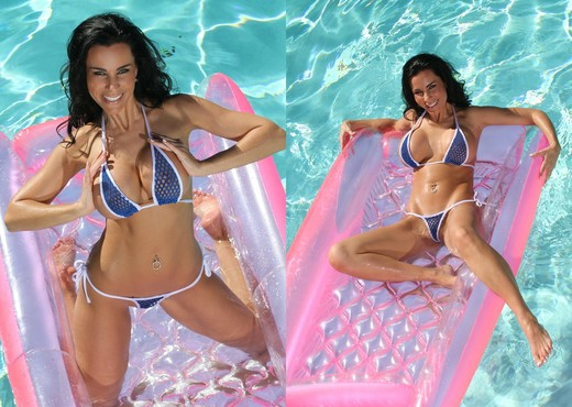 Laura Lee - Tiny Blue Fishnet Thong Bikini - Solo Nude Pics