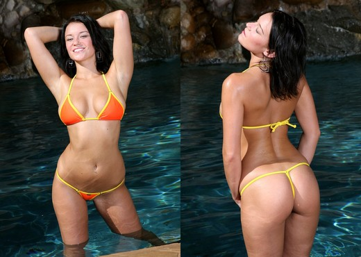 Devi Emmerson - Orange Thong Bikini in the Pool - Solo Hot Gallery