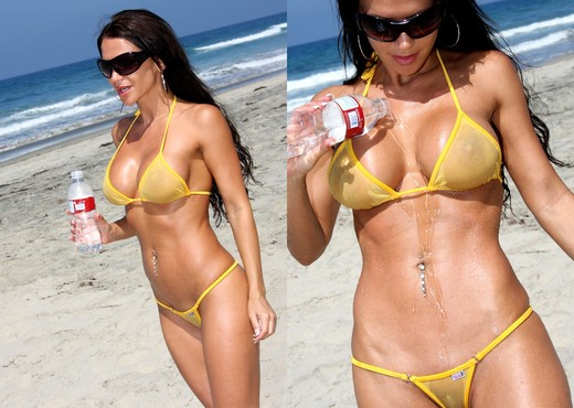 Rebecca Rayann - Sheer Gold Bikini at the Beach - Solo TGP