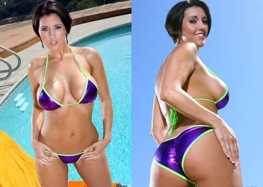 Dylan Ryder - Shiny Purple Scrunch Bikini & Dildo - Solo Sexy Gallery