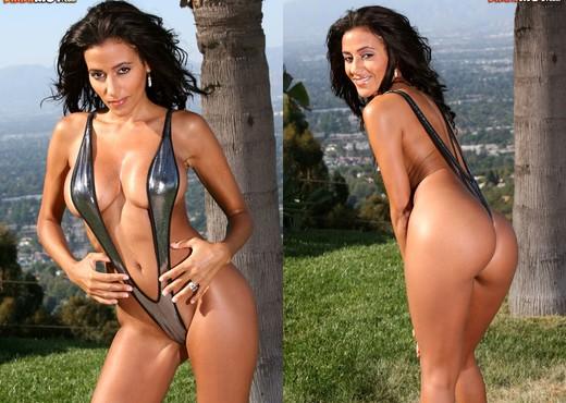 Rita G - Shiny Silver Sling Bikini - Solo Nude Gallery