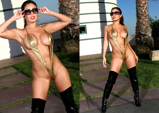 Akira Lane - Gold Sling & Hooker Boots - Asian Hot Gallery