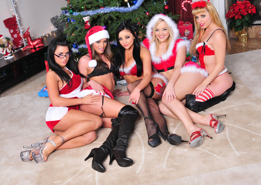 Christmas Gift Exchange By The Tree - Lesbian Image Gallery