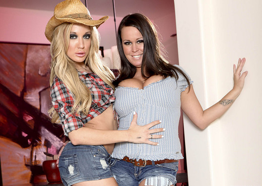 Brandy Talore and Amy Brooke - Horny Cowgirl Pornstars - Lesbian Nude Gallery