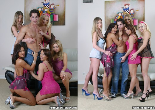 This stud gets extremely lucky and fucks five hot girls - Hardcore Porn Gallery