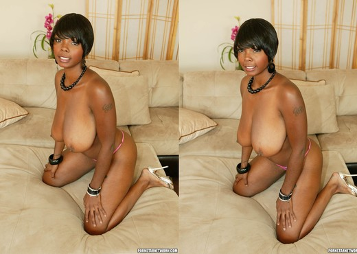Ebony Stacy Adams Shows Off Her Big Natural Tits - Ebony TGP