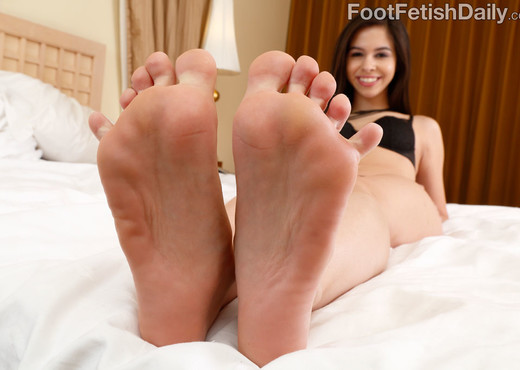 Small Breasted Brunette Teases With Her Feet and Gets Fucked - Hardcore TGP