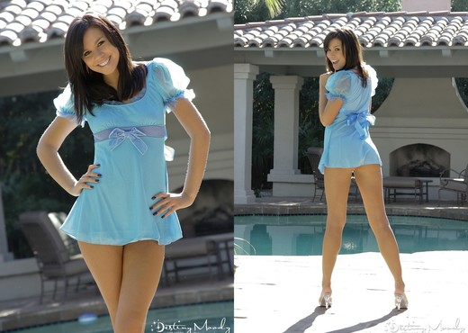 Destiny Moody Blue Dress - Solo Nude Gallery