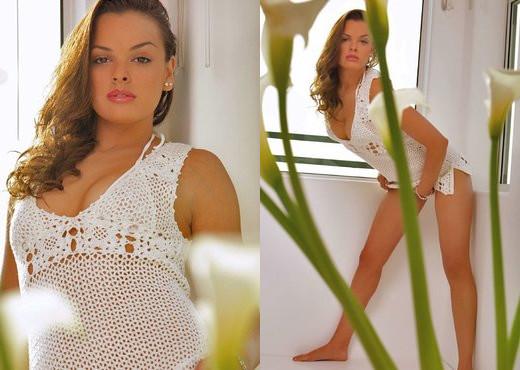 Renee Perez - White Dress - Solo Sexy Photo Gallery