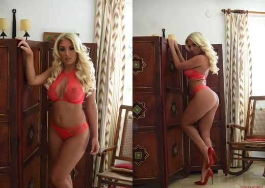 Stacey teasing in red lingerie - Solo HD Gallery