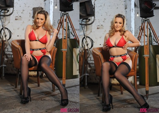 Jodie Gasson teasing in her Hustler lingerie and stockings - Solo Sexy Gallery