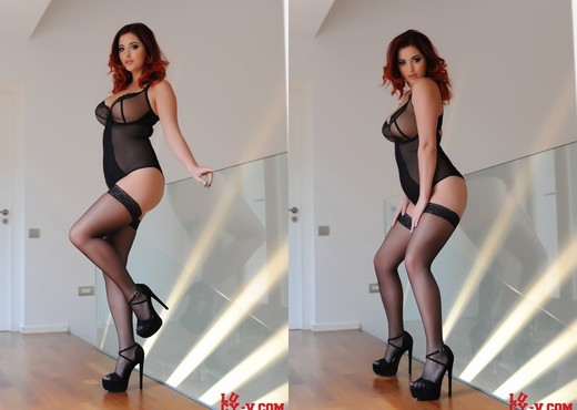 Lucy V teases in her black body suit and stockings - Solo HD Gallery