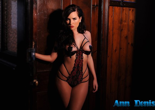 Ann Denise wearing black pasties and sexy strap lingerie - Solo Picture Gallery