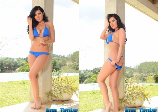 Ann Denise teasing outdoors in her blue bikini - Solo Hot Gallery