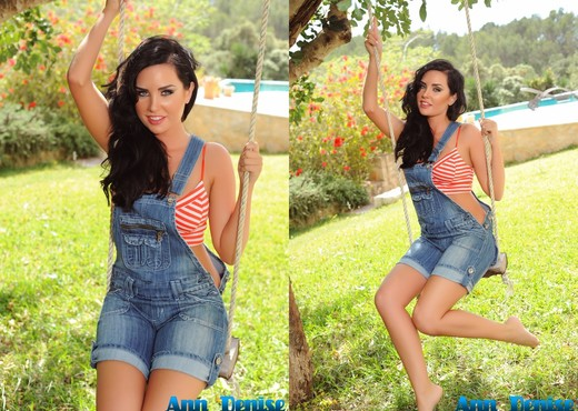 Ann Denise teases on the swing in her overalls and panties - Solo Picture Gallery