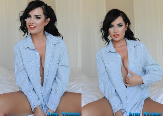 Ann Denise teasing in her blue shirt and white thong - Solo TGP