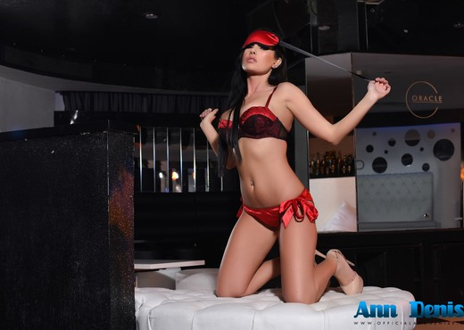 Ann Denise teasing in red lingerie in the lounge - Solo Picture Gallery