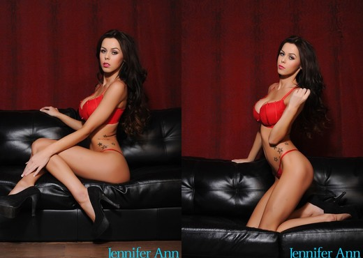 Jennifer in red lingerie on black sofa - Solo TGP