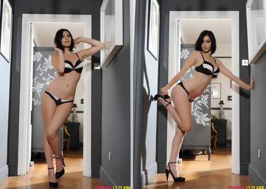 Summer teases in her black bras and panties with heels - Solo Nude Pics